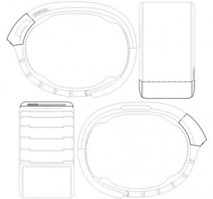 De Samsung Galaxy Gear patentaanvraag met de smartwatch in ingerolde staat.